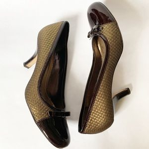 Franco Sarto Brown Patent Leather and Gold Pumps